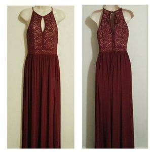 Burgundy Lace Formal Gown Keyhole Prom Dress MINT